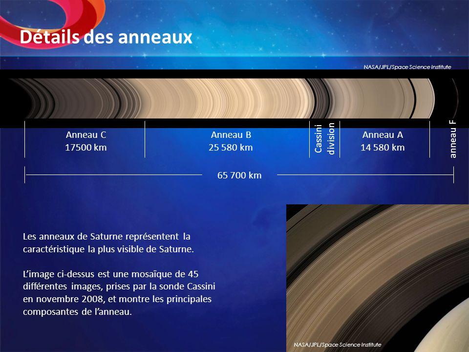 Les anneaux de Saturne représentent la caractéristique la plus visible de Saturne. Limage ci-dessus est une mosaïque de 45 différentes images, prises