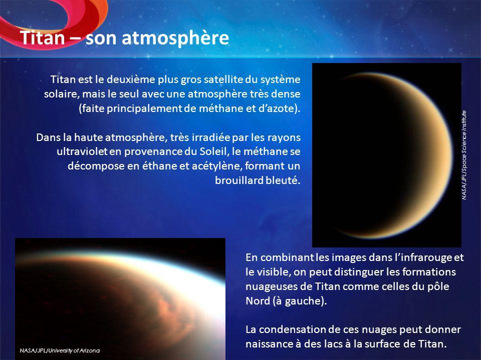 Titan est le deuxième plus gros satellite du système solaire, mais le seul avec une atmosphère très dense (faite principalement de méthane et dazote).