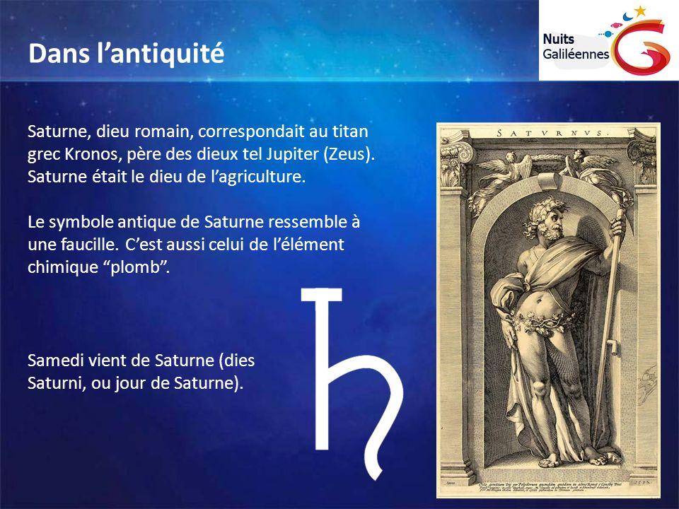 Saturne, dieu romain, correspondait au titan grec Kronos, père des dieux tel Jupiter (Zeus). Saturne était le dieu de lagriculture. Le symbole antique