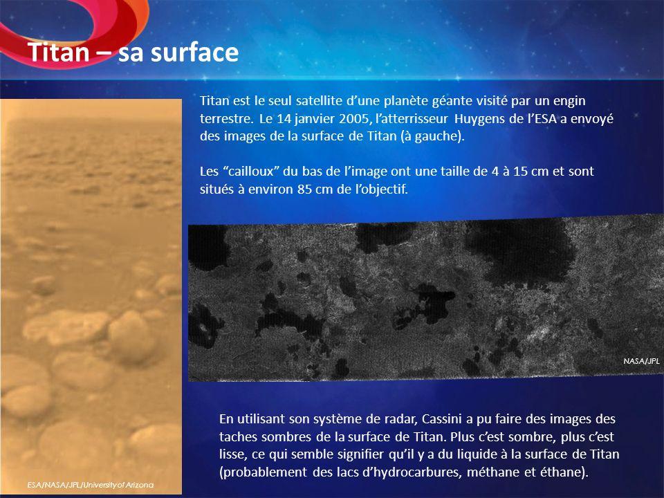 Titan est le seul satellite dune planète géante visité par un engin terrestre. Le 14 janvier 2005, latterrisseur Huygens de lESA a envoyé des images d