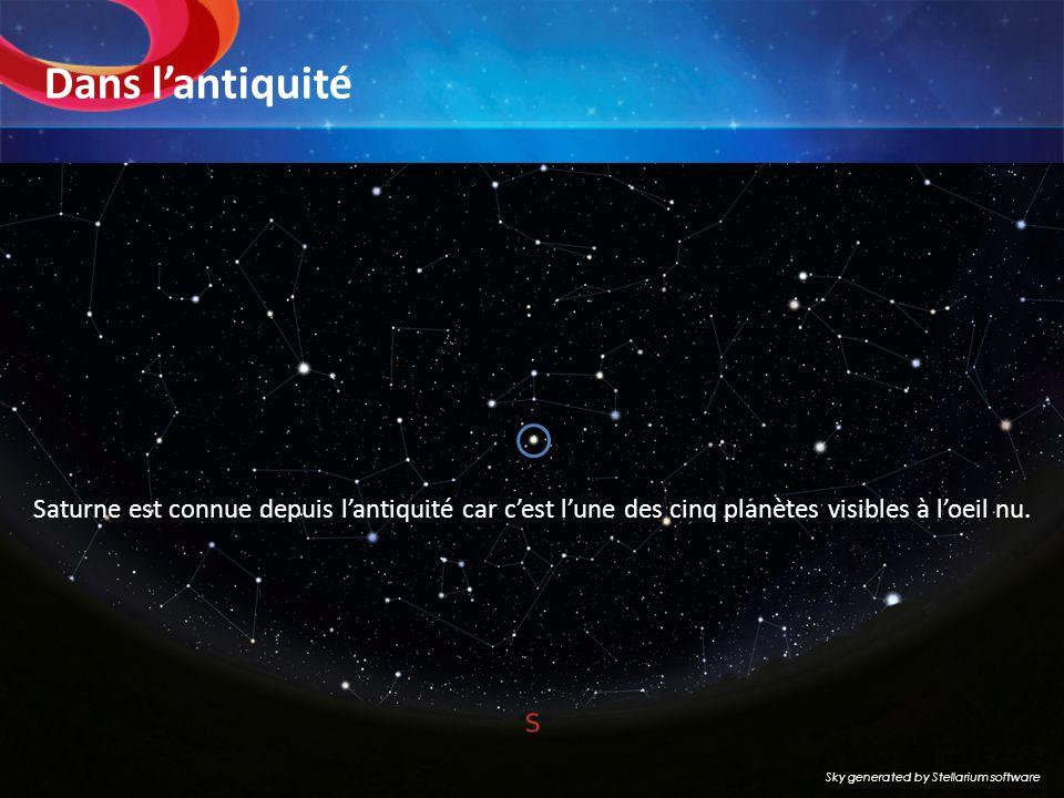 Dans lantiquité Saturne est connue depuis lantiquité car cest lune des cinq planètes visibles à loeil nu. Sky generated by Stellarium software