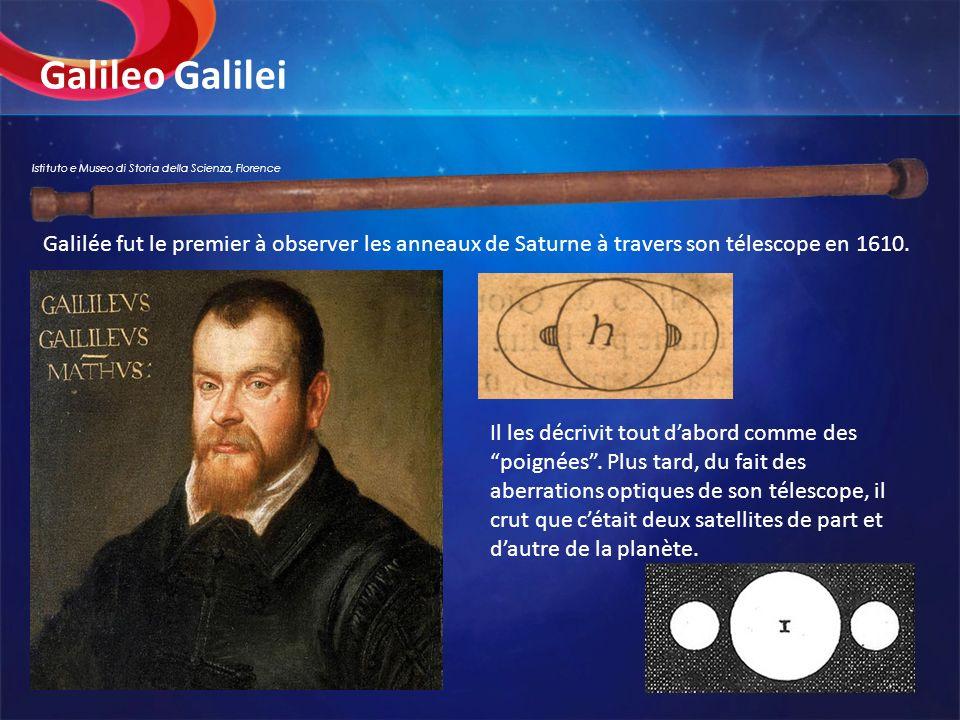 Galileo Galilei Il les décrivit tout dabord comme des poignées. Plus tard, du fait des aberrations optiques de son télescope, il crut que cétait deux