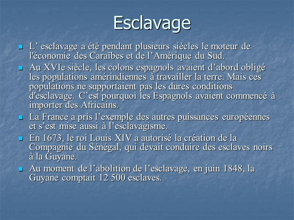 Esclavage L esclavage a été pendant plusieurs siècles le moteur de l'économie des Caraïbes et de lAmérique du Sud. L esclavage a été pendant plusieurs