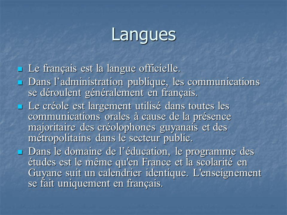 Langues Le français est la langue officielle. Le français est la langue officielle. Dans ladministration publique, les communications se déroulent gén
