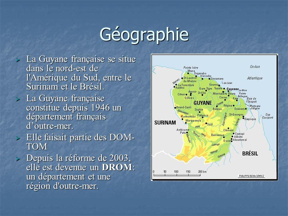 Géographie La Guyane française se situe dans le nord-est de l'Amérique du Sud, entre le Surinam et le Brésil. La Guyane française se situe dans le nor