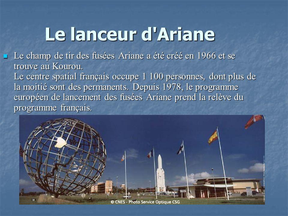 Le lanceur d'Ariane Le champ de tir des fusées Ariane a été créé en 1966 et se trouve au Kourou. Le centre spatial français occupe 1 100 personnes, do