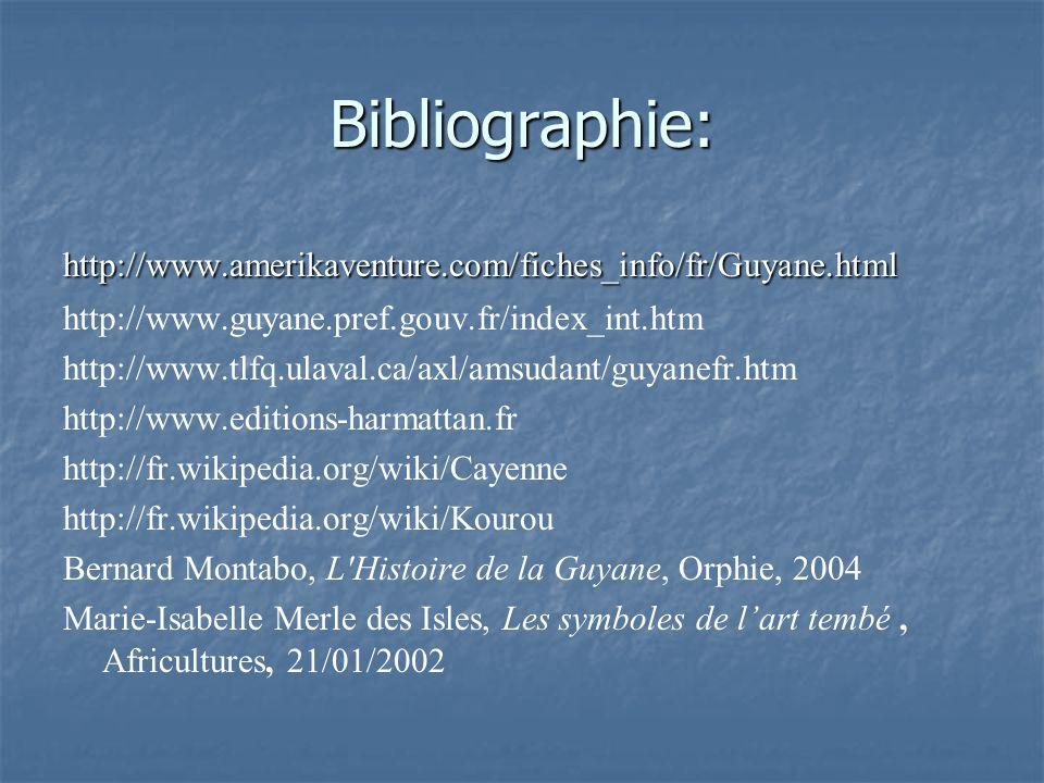 Bibliographie: http://www.amerikaventure.com/fiches_info/fr/Guyane.html http://www.guyane.pref.gouv.fr/index_int.htm http://www.tlfq.ulaval.ca/axl/ams