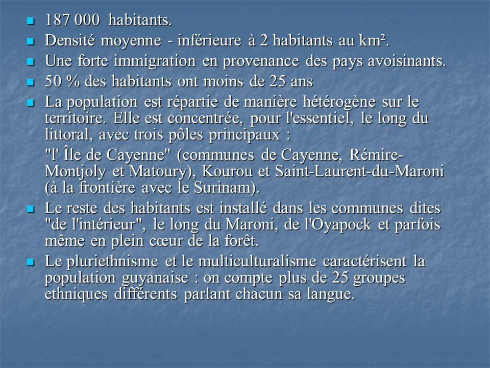 Bibliographie: http://www.amerikaventure.com/fiches_info/fr/Guyane.html http://www.guyane.pref.gouv.fr/index_int.htm http://www.tlfq.ulaval.ca/axl/amsudant/guyanefr.htm http://www.editions-harmattan.fr http://fr.wikipedia.org/wiki/Cayenne http://fr.wikipedia.org/wiki/Kourou Bernard Montabo, L Histoire de la Guyane, Orphie, 2004 Marie-Isabelle Merle des Isles, Les symboles de lart tembé, Africultures, 21/01/2002