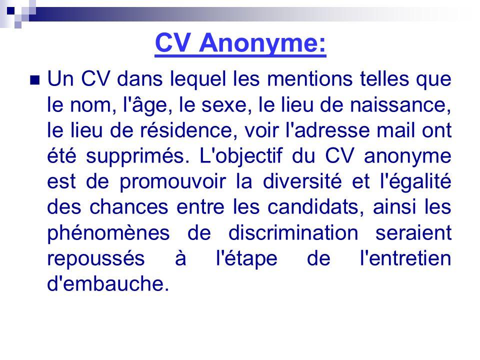 CV Anonyme: Un CV dans lequel les mentions telles que le nom, l'âge, le sexe, le lieu de naissance, le lieu de résidence, voir l'adresse mail ont été