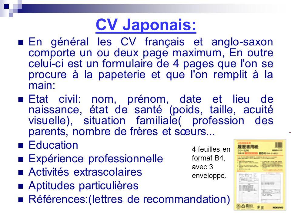 CV Japonais: En général les CV français et anglo-saxon comporte un ou deux page maximum, En outre celui-ci est un formulaire de 4 pages que l'on se pr