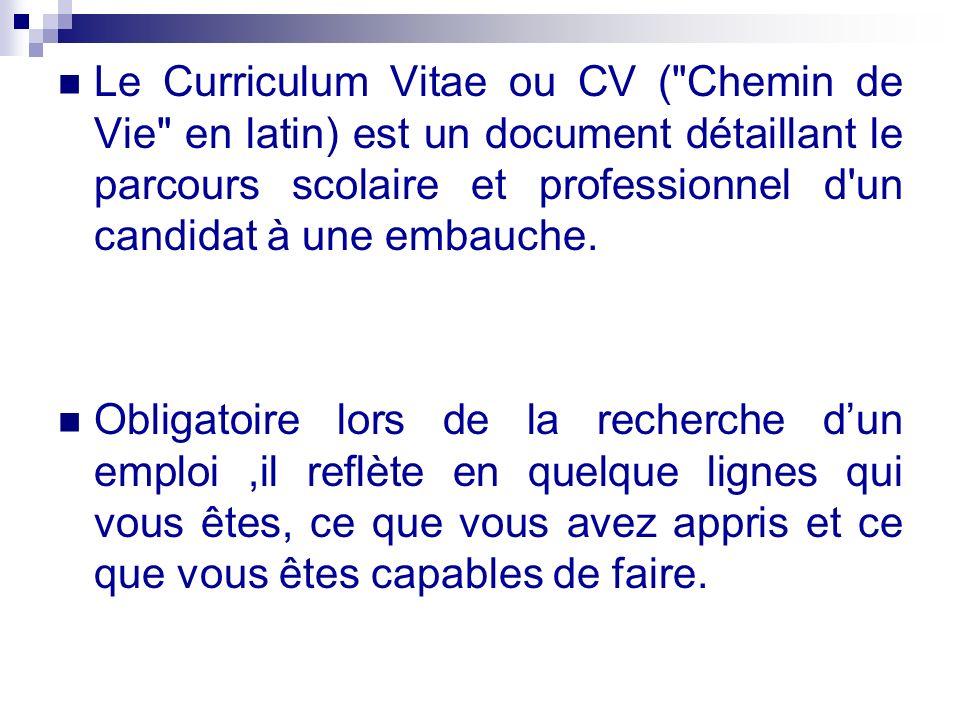 Le Curriculum Vitae ou CV (