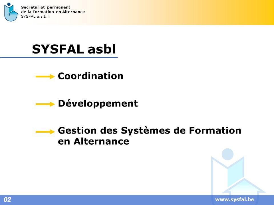 www.sysfal.be 02 Secrétariat permanent de la Formation en Alternance SYSFAL a.s.b.l. SYSFAL asbl Coordination Développement Gestion des Systèmes de Fo