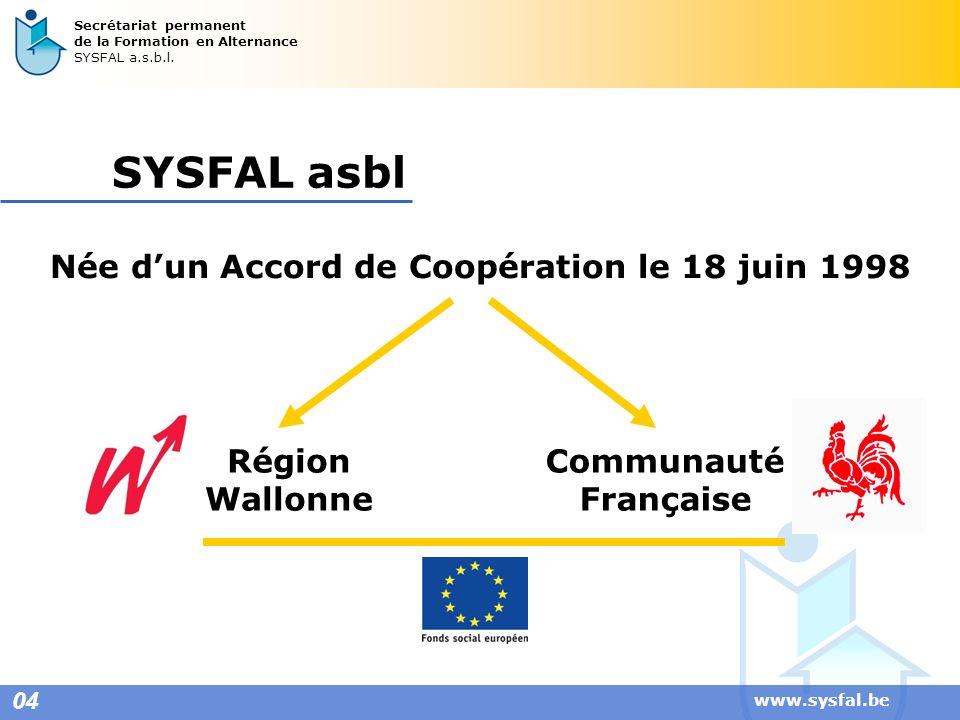 www.sysfal.be 04 Secrétariat permanent de la Formation en Alternance SYSFAL a.s.b.l. SYSFAL asbl Née dun Accord de Coopération le 18 juin 1998 Région