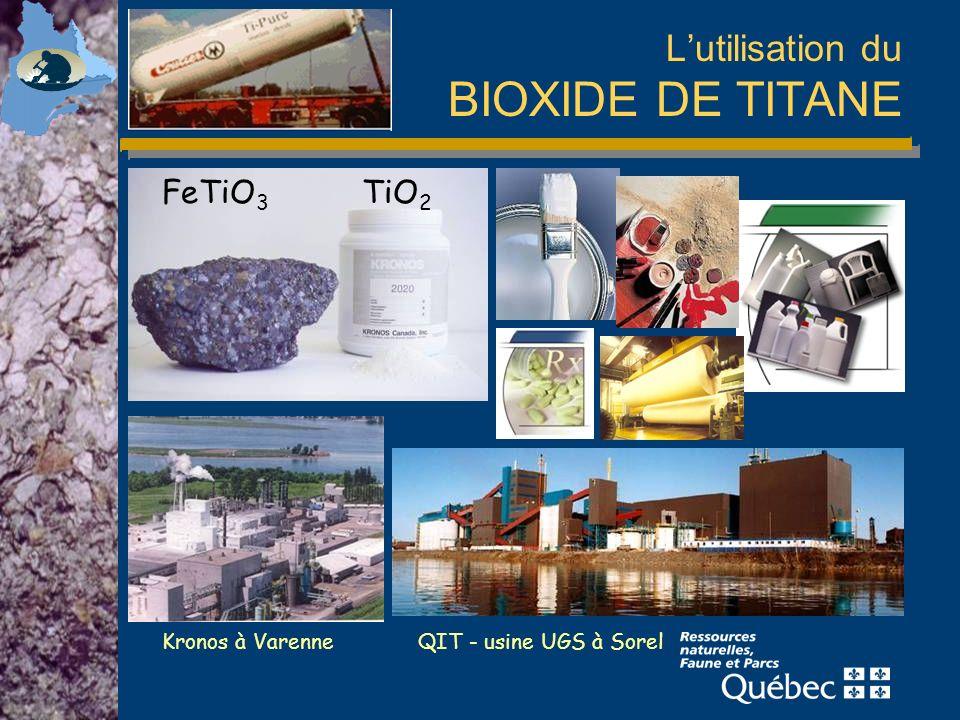 Lutilisation du BIOXIDE DE TITANE QIT - usine UGS à Sorel Kronos à Varenne TiO 2 FeTiO 3