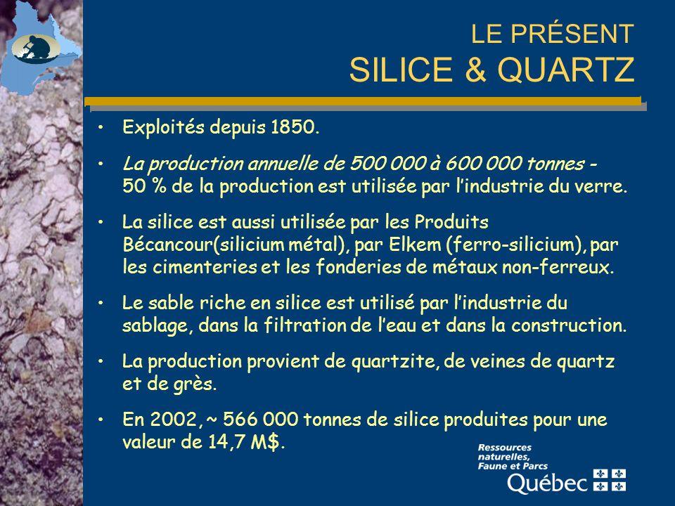 LE PRÉSENT SILICE & QUARTZ Exploités depuis 1850.