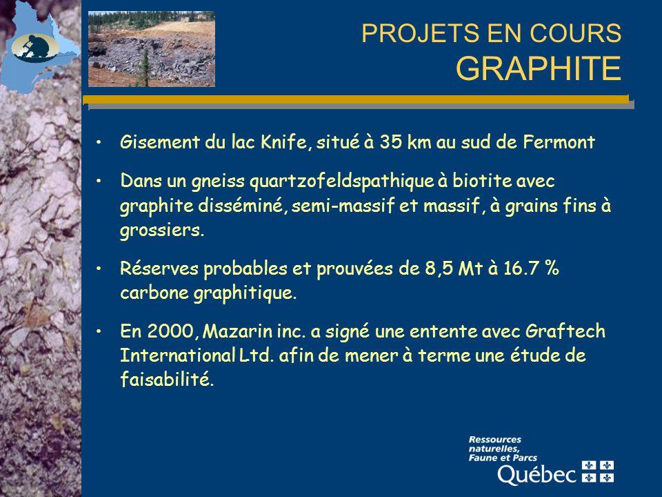 PROJETS EN COURS GRAPHITE Gisement du lac Knife, situé à 35 km au sud de Fermont Dans un gneiss quartzofeldspathique à biotite avec graphite disséminé, semi-massif et massif, à grains fins à grossiers.