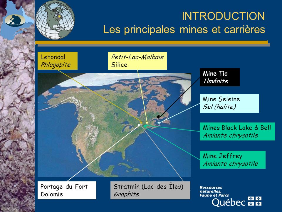 INTRODUCTION Les principales mines et carrières Mines Black Lake & Bell Amiante chrysotile Mine Jeffrey Amiante chrysotile Mine Tio Ilménite Mine Sele