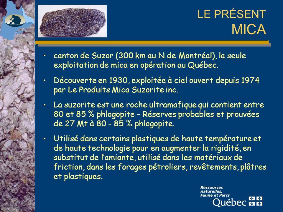 LE PRÉSENT MICA canton de Suzor (300 km au N de Montréal), la seule exploitation de mica en opération au Québec.
