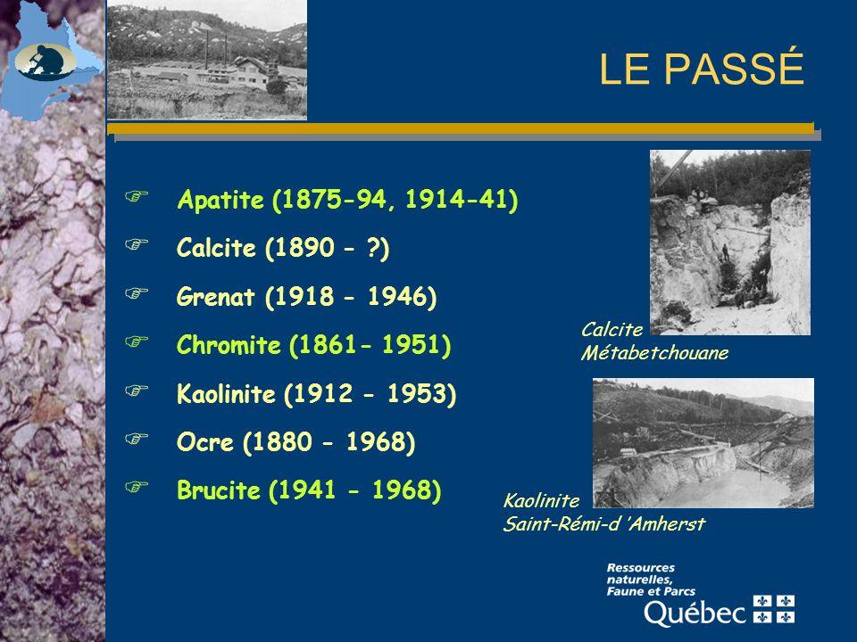 LE PASSÉ Apatite (1875-94, 1914-41) Calcite (1890 - ?) Grenat (1918 - 1946) Chromite (1861- 1951) Kaolinite (1912 - 1953) Ocre (1880 - 1968) Brucite (1941 - 1968) Calcite Métabetchouane Kaolinite Saint-Rémi-d Amherst