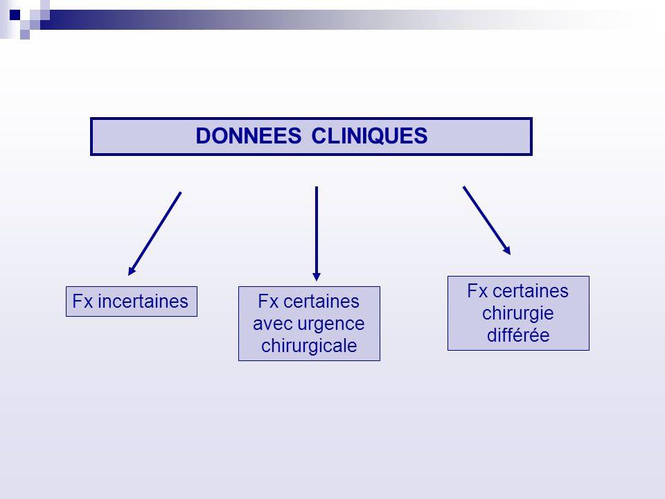 DONNEES CLINIQUES Fx incertainesFx certaines avec urgence chirurgicale Fx certaines chirurgie différée