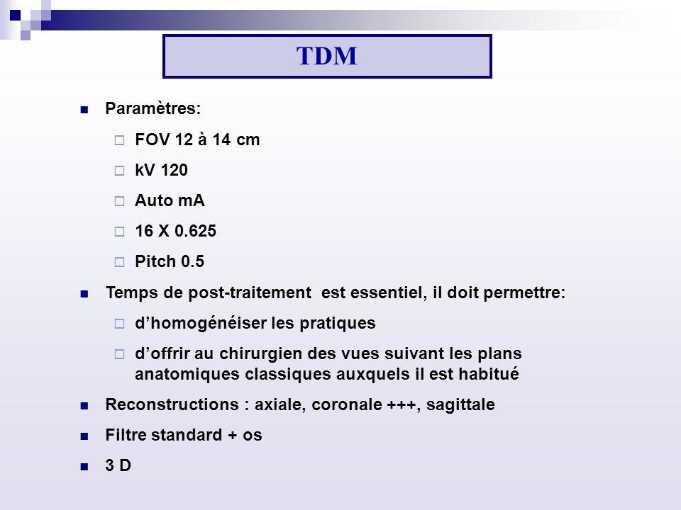 Paramètres: FOV 12 à 14 cm kV 120 Auto mA 16 X 0.625 Pitch 0.5 Temps de post-traitement est essentiel, il doit permettre: dhomogénéiser les pratiques doffrir au chirurgien des vues suivant les plans anatomiques classiques auxquels il est habitué Reconstructions : axiale, coronale +++, sagittale Filtre standard + os 3 D TDM