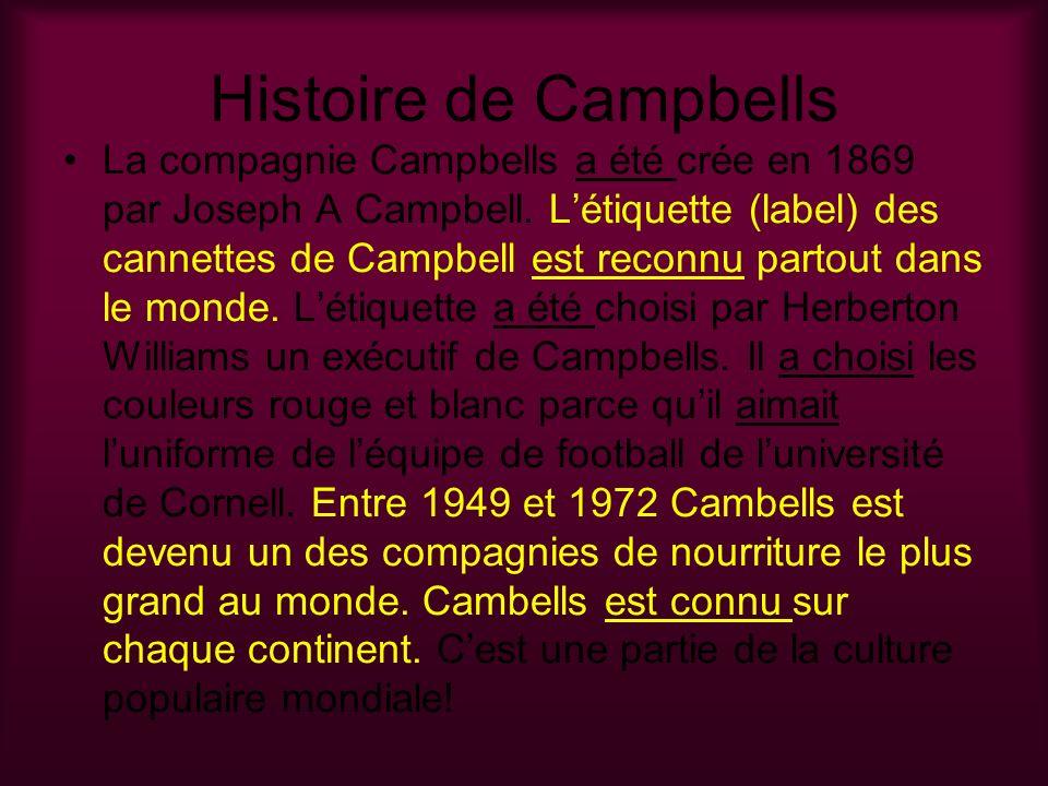 Histoire de Campbells La compagnie Campbells a été crée en 1869 par Joseph A Campbell. Létiquette (label) des cannettes de Campbell est reconnu partou