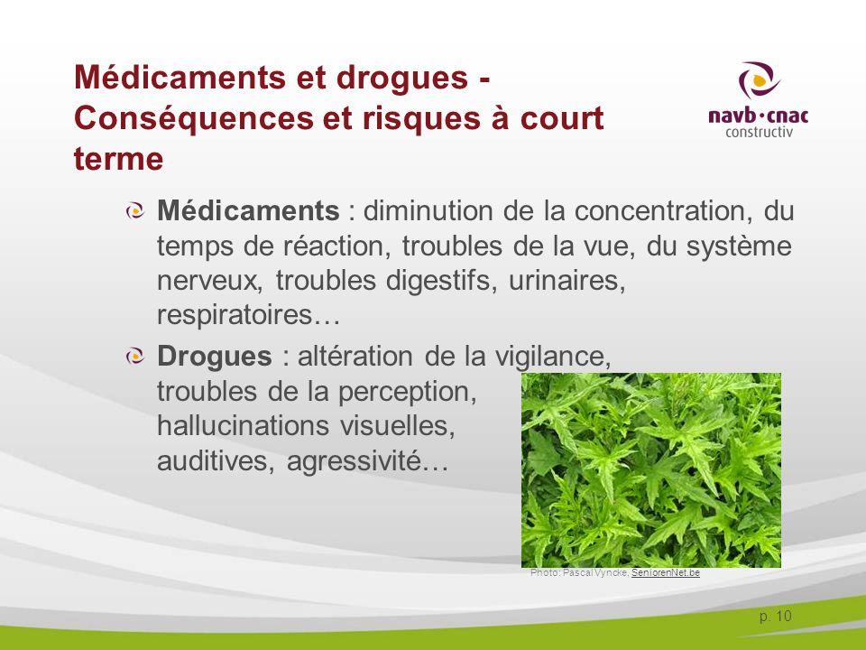p. 10 Médicaments et drogues - Conséquences et risques à court terme Médicaments : diminution de la concentration, du temps de réaction, troubles de l