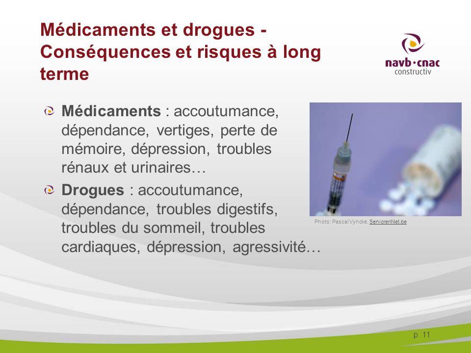 p. 11 Médicaments et drogues - Conséquences et risques à long terme Médicaments : accoutumance, dépendance, vertiges, perte de mémoire, dépression, tr