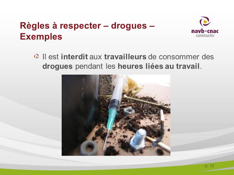 p. 19 Règles à respecter – drogues – Exemples Il est interdit aux travailleurs de consommer des drogues pendant les heures liées au travail.