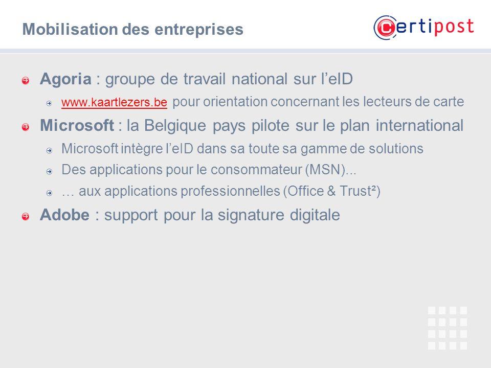 # Mobilisation des entreprises Agoria : groupe de travail national sur leID www.kaartlezers.be www.kaartlezers.be pour orientation concernant les lect