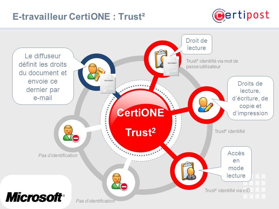 # E-travailleur CertiONE : Trust² CertiONE Trust 2 Le diffuseur définit les droits du document et envoie ce dernier par e-mail Accès en mode lecture T