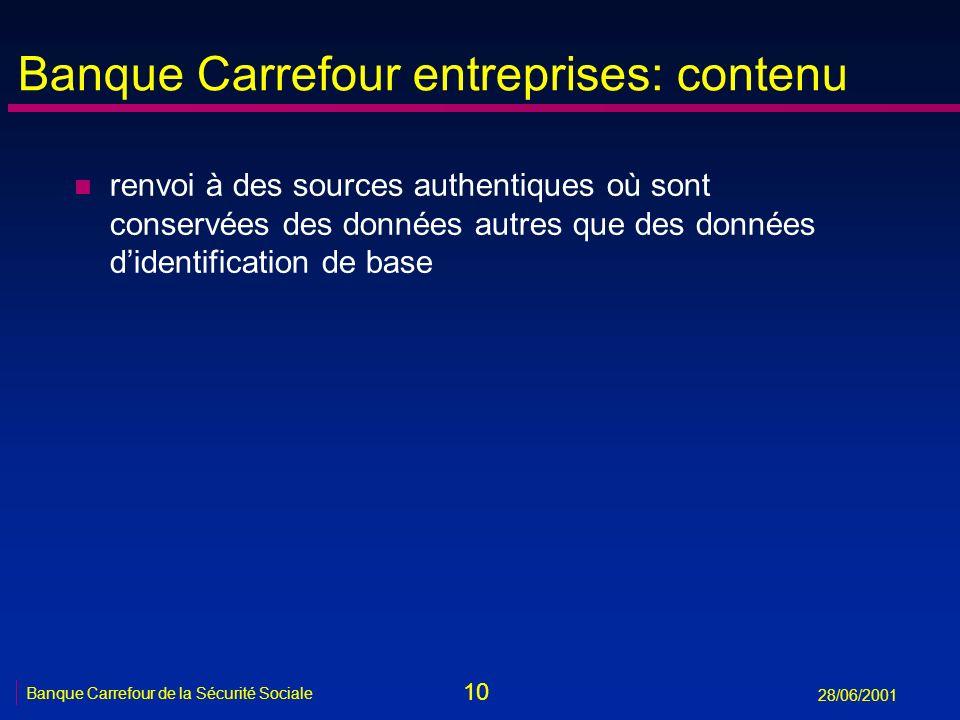 10 Banque Carrefour de la Sécurité Sociale 28/06/2001 Banque Carrefour entreprises: contenu n renvoi à des sources authentiques où sont conservées des