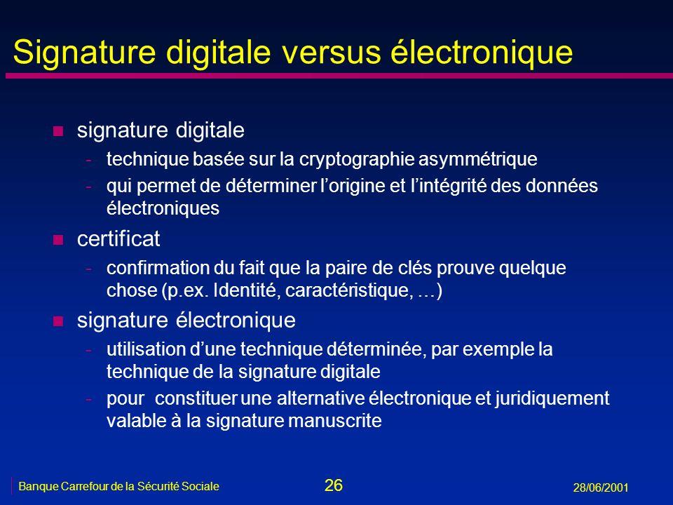 26 Banque Carrefour de la Sécurité Sociale 28/06/2001 Signature digitale versus électronique n signature digitale -technique basée sur la cryptographi