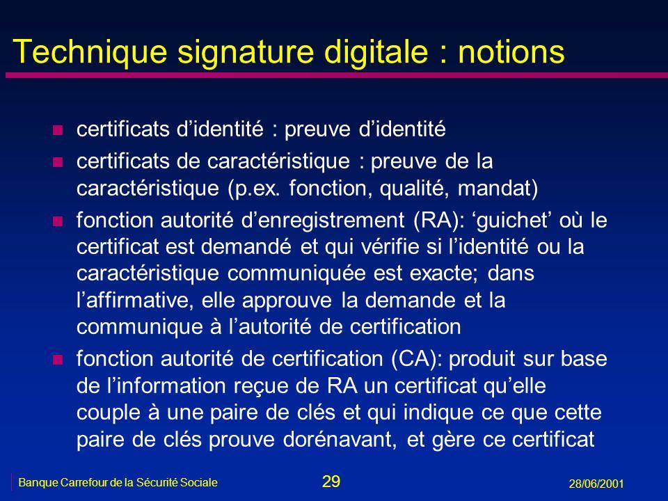 29 Banque Carrefour de la Sécurité Sociale 28/06/2001 Technique signature digitale : notions n certificats didentité : preuve didentité n certificats