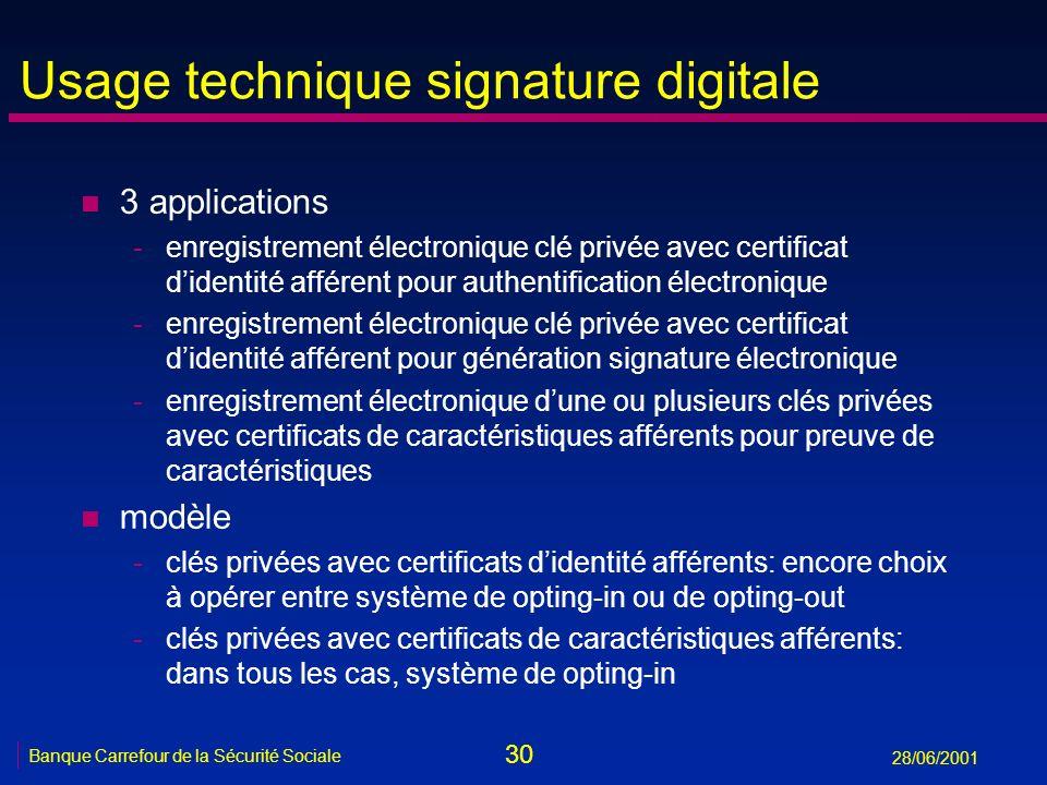30 Banque Carrefour de la Sécurité Sociale 28/06/2001 Usage technique signature digitale n 3 applications -enregistrement électronique clé privée avec