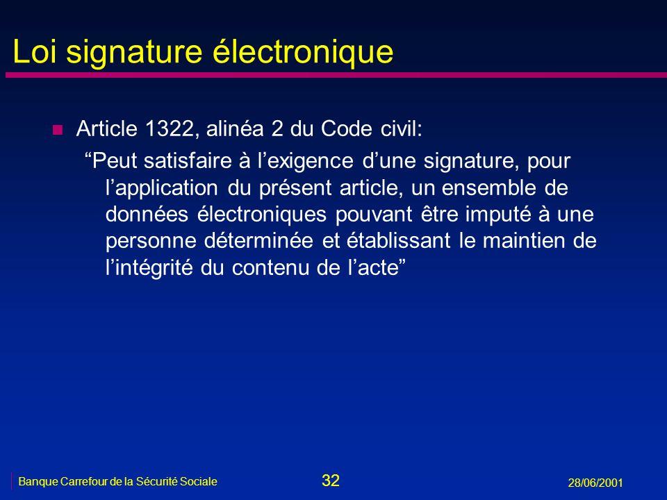 32 Banque Carrefour de la Sécurité Sociale 28/06/2001 Loi signature électronique n Article 1322, alinéa 2 du Code civil: Peut satisfaire à lexigence d