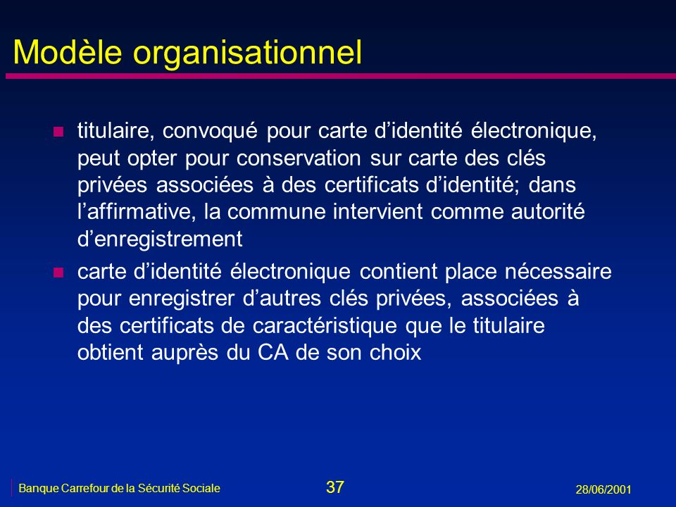 37 Banque Carrefour de la Sécurité Sociale 28/06/2001 Modèle organisationnel n titulaire, convoqué pour carte didentité électronique, peut opter pour