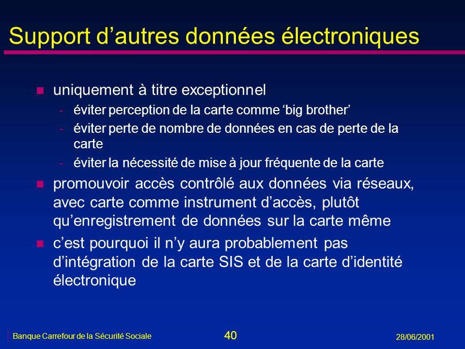 40 Banque Carrefour de la Sécurité Sociale 28/06/2001 Support dautres données électroniques n uniquement à titre exceptionnel -éviter perception de la