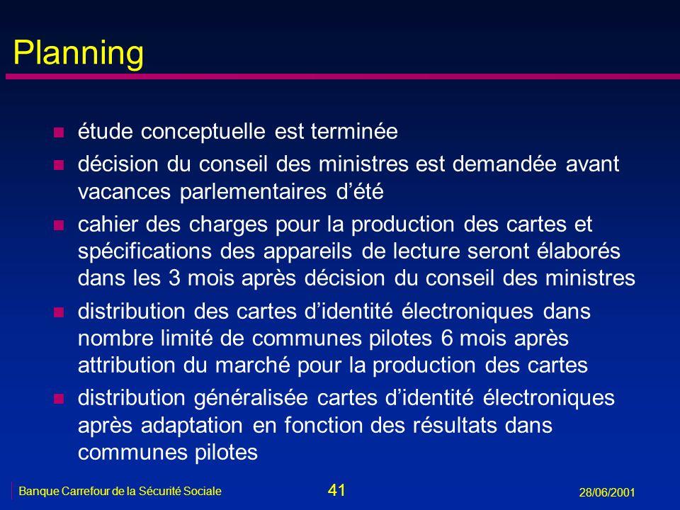 41 Banque Carrefour de la Sécurité Sociale 28/06/2001 Planning n étude conceptuelle est terminée n décision du conseil des ministres est demandée avan