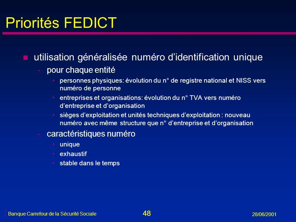 48 Banque Carrefour de la Sécurité Sociale 28/06/2001 Priorités FEDICT n utilisation généralisée numéro didentification unique -pour chaque entité per