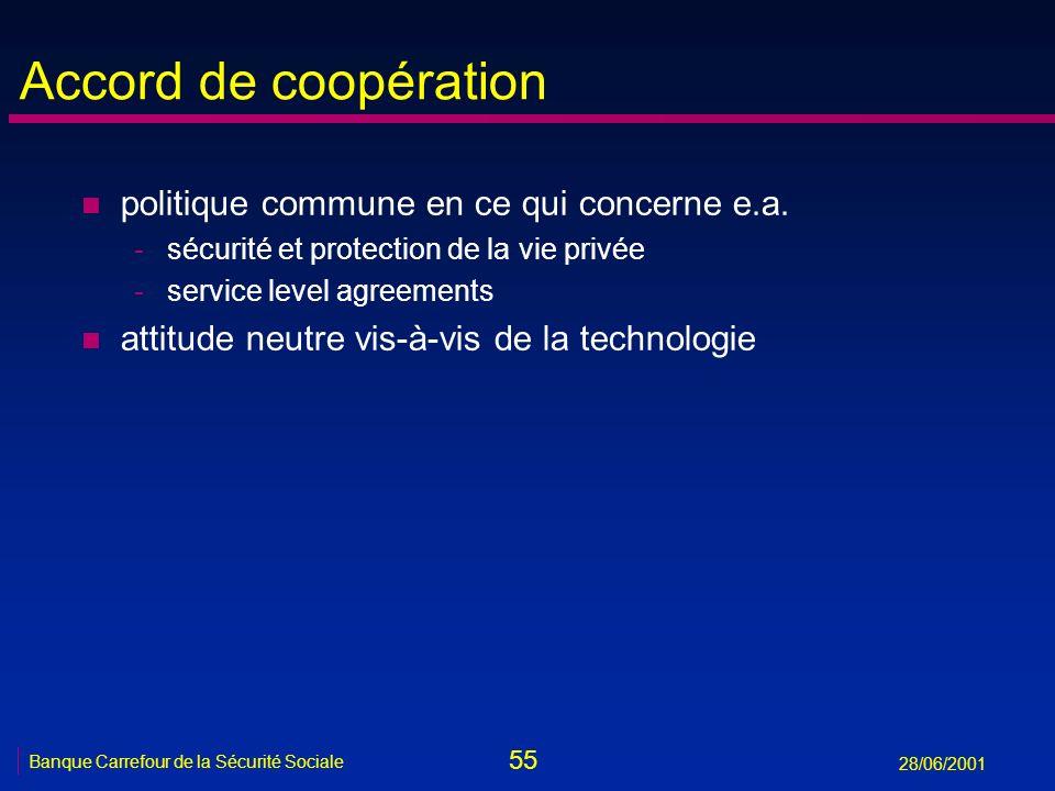 55 Banque Carrefour de la Sécurité Sociale 28/06/2001 Accord de coopération n politique commune en ce qui concerne e.a. -sécurité et protection de la