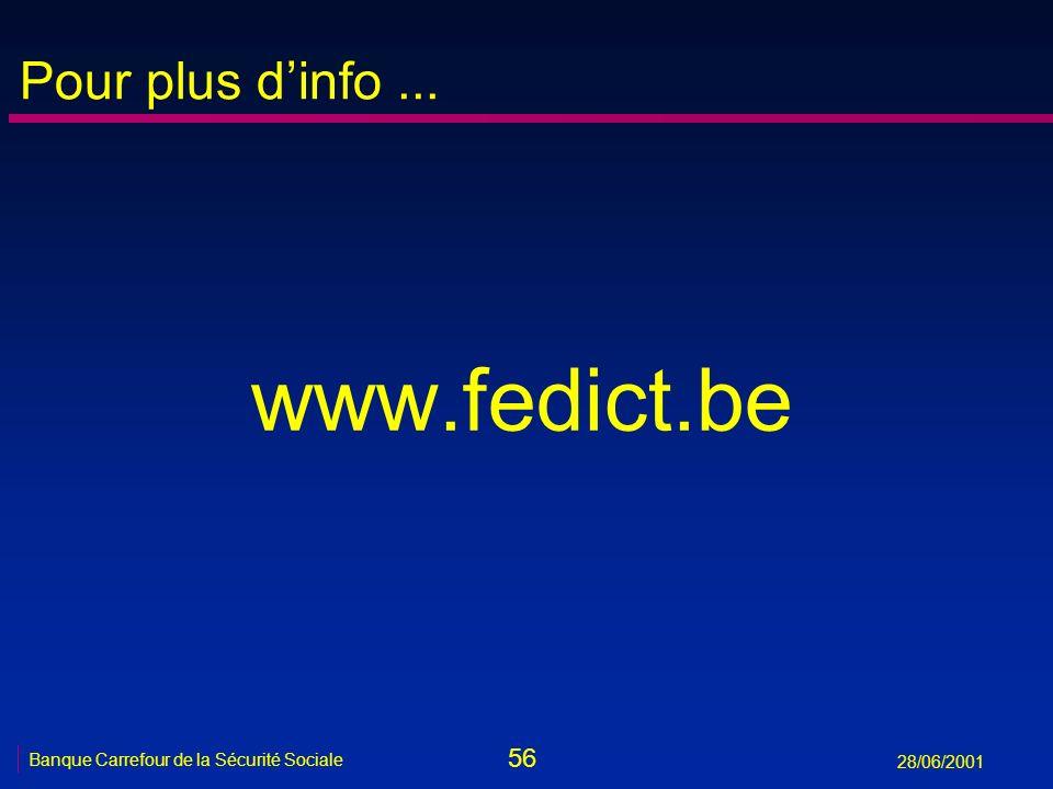 56 Banque Carrefour de la Sécurité Sociale 28/06/2001 Pour plus dinfo... www.fedict.be