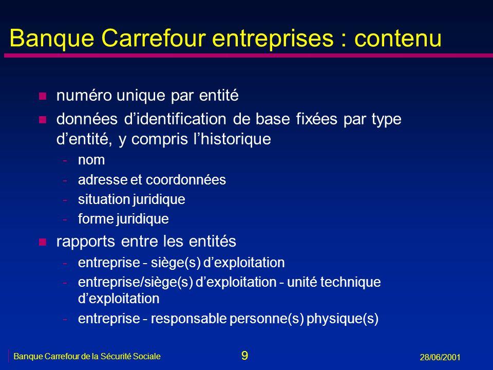 9 Banque Carrefour de la Sécurité Sociale 28/06/2001 Banque Carrefour entreprises : contenu n numéro unique par entité n données didentification de ba