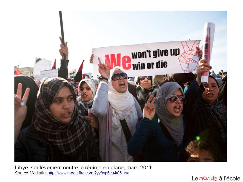 Libye, soulèvement contre le régime en place, mars 2011 Source: Mediafire http://www.mediafire.com/?yy8yp6cu4t051wehttp://www.mediafire.com/?yy8yp6cu4