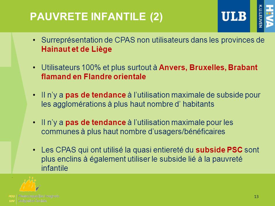 PAUVRETE INFANTILE (2) 13 Surreprésentation de CPAS non utilisateurs dans les provinces de Hainaut et de Liège Utilisateurs 100% et plus surtout à Anv