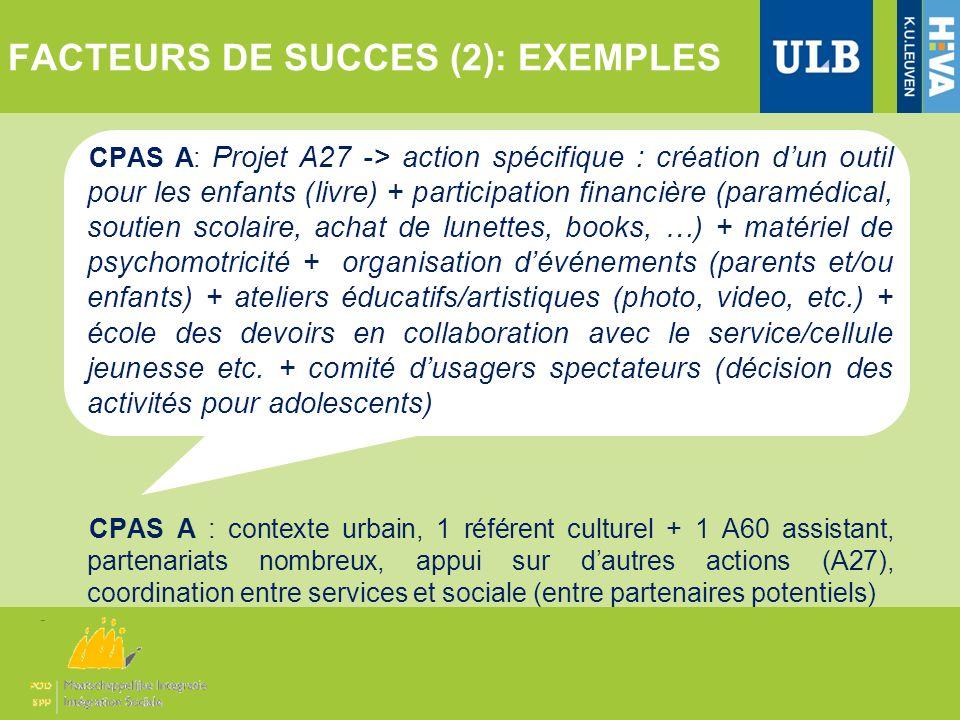 FACTEURS DE SUCCES (2): EXEMPLES CPAS A: Projet A27 -> action spécifique : création dun outil pour les enfants (livre) + participation financière (par