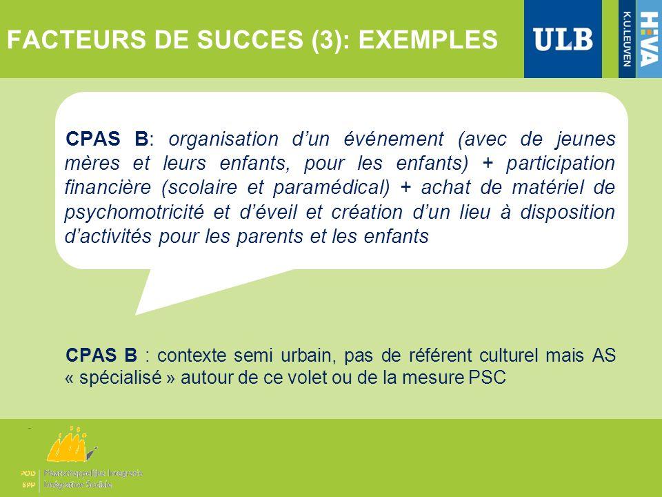 FACTEURS DE SUCCES (3): EXEMPLES CPAS B: organisation dun événement (avec de jeunes mères et leurs enfants, pour les enfants) + participation financiè
