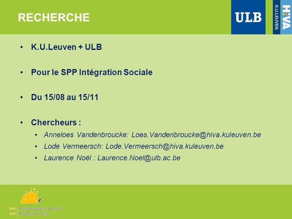 K.U.Leuven + ULB Pour le SPP Intégration Sociale Du 15/08 au 15/11 Chercheurs : Anneloes Vandenbroucke: Loes.Vandenbroucke@hiva.kuleuven.be Lode Verme