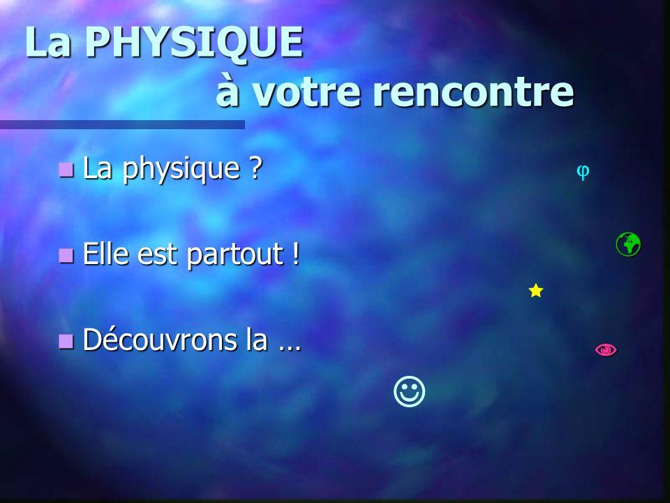 La PHYSIQUE à votre rencontre La physique ? La physique ? Elle est partout ! Elle est partout ! Découvrons la … Découvrons la …