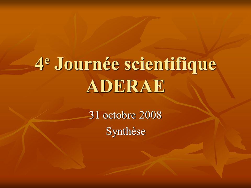 4 e Journée scientifique ADERAE 31 octobre 2008 Synthèse